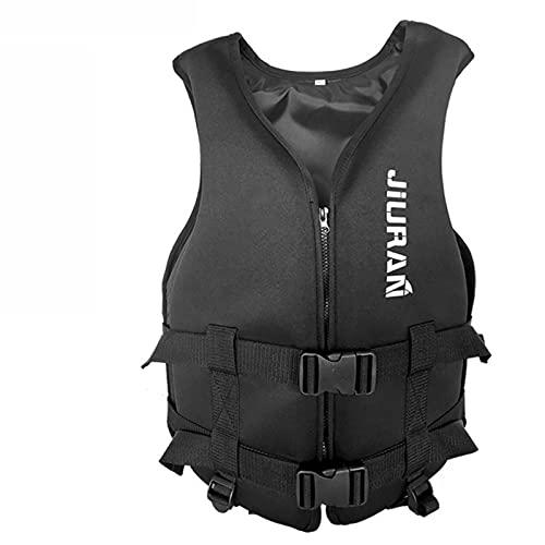 Summer Adjustable Life Jacket for Children and Adults Light Buoy Life Vest Buoyancy Vest Diving Training, Light Life Vest, Buoyancy Aid Vest for Kayak Boarding Fishing (Black, L)