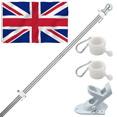 GLORYA Fahnenmast mit Britische Flagge und Halterung für Haus, Rostschutz für Gartendachwände im Freien, Schwere Deutsche Fahnenstange aus Edelstahl 2m
