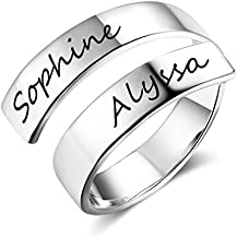 Love Jewelry Personalized Spiral Twist Ring Engraved Names BFF Personalized Gift Mother-Daughter Promise Ring for Her (Silver)