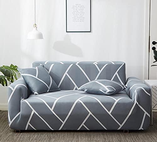 Funda Sofas 2 y 3 Plazas Cuadrado Gris Fundas para Sofa con Diseño Elegante Universal,Cubre Sofa Ajustables,Fundas Sofa Elasticas,Funda de Sofa Chaise Longue,Protector Cubierta para Sofá
