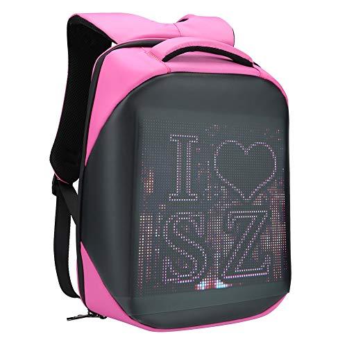 Smart Pixel LED Backpack, Multi‑Function Ergonomic Laptop Backpack Customizable Digital PIX Display WIFI APP Control Waterproof School Bookbag 20L 25 x 25cm(Pink)