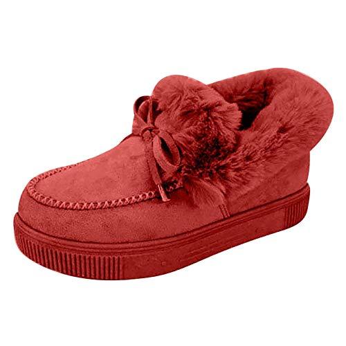 Botas de Mujer 2020 Otoño Invierno Goma Encaje Forro de Piel Punta Redonda Botas de Nieve Zapatos de Trabajo Formal Calzado Antideslizante Ligero Botines Que Caminan