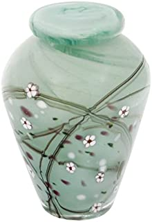 Silverlight Urns Blossom Hand Blown Glass Keepsake Urn, Mint Green with Cherry Branch Design, Mini Urn for Human Ashes, 5 Inches Tall