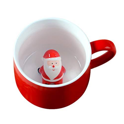 Cabilock 400Ml Rote Keramikbecher Weihnachten Kaffee Tee Tasse 3D Weihnachtsmann in Tasse Wasser Saft Trinken Becher Weihnachten Stil Teetasse mit Deckel