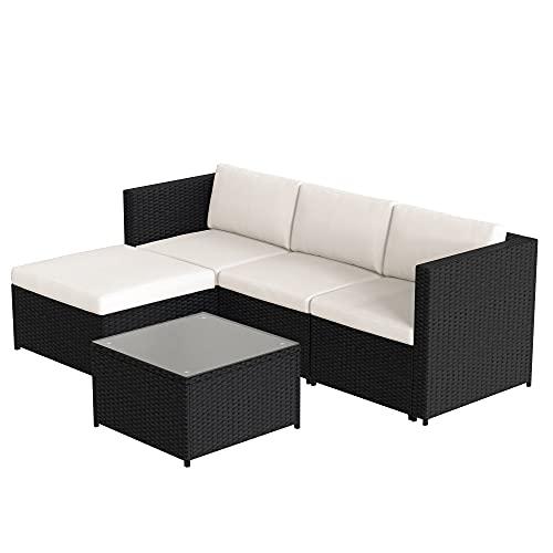 LEKER Conjunto de muebles de jardín de polirratán, sofá esquinero, con cojines de asiento y respaldo, mesa de salón con tablero de cristal