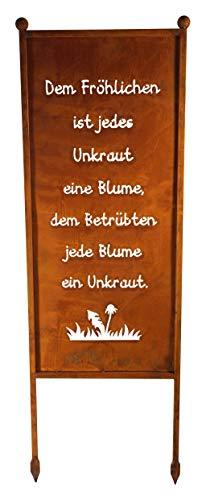 Bornhöft Schild/Spruchtafel Gartenschild Edelrost Rost zum Einstecken rostige Gartendeko (Dem Fröhlichen ist jedes Unkraut eine Blume den Betrübten Jede Blume EIN Unkraut)