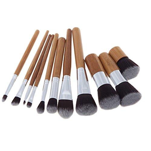 Baoblaze Lot de 9pcs Pinceau Maquillage à Poignée de Bambou Pour Visage Lèvres Fard à Paupière et Contour en Poudre
