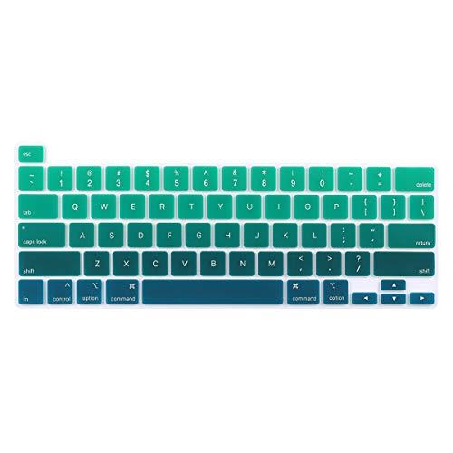 Batianda Gradient Color Keyboard Cover Skin for 2020 MacBook Pro 13 M1 A2338 A2289 A2251 & 2019 2020 MacBook Pro 16 A2141 Model, Dark Green
