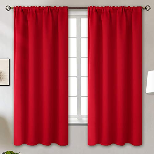 BGment Rod Pocket Blackout Curtains for Bedroom - Thermal Insulated Room Darkening Curtain for Living Room, 42 x 63 Inch, 2 Panels, Red