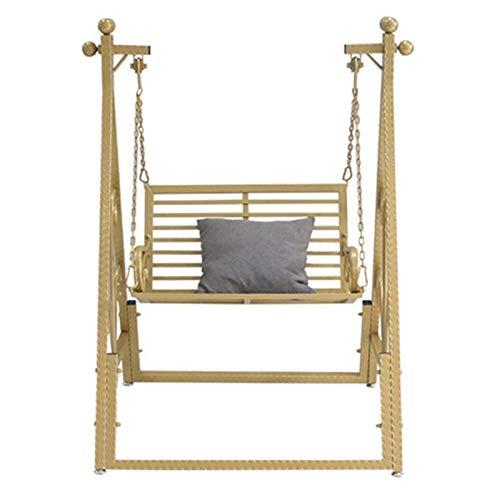 yaunli Columpio de hierro nórdico, columpio para el hogar, al aire libre, columpio para balcón, mecedora pesada (color: amarillo, tamaño: 94 x 89 x 196 cm)