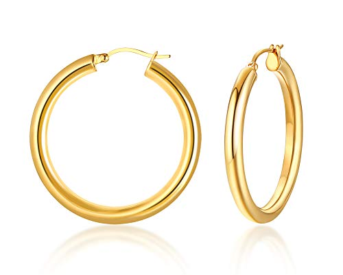VNOX 18K Gold Plated Stainless Steel 4mm Thick Flat Tube Polished Round Hoop Stud Earrings for Women Girl,38mm Diameter