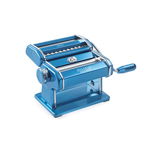 Marcato Atlas Made in Italy Pasta Machine Made in Italy Light Blue Includes Pasta Cutter Hand Crank and Instructions