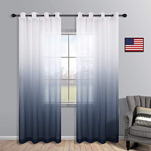 Navy Blue Curtains 84 Inch for Living Room Set of 2 Panels Grommet Window Semi Sheer Nautical Design Faux Linen Ombre Navy Curtains for Boys Bedroom Nursery Men Office Decor Deep Dark Blue and White