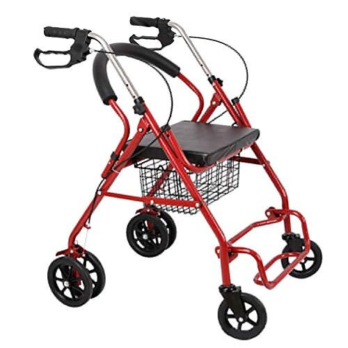 WANGXN Rollator Schmal FüR Wohnung zusammenklappbarer Rollrahmen mit gepolstertem Sitz und Rückenlehne 4 Mobilhilfen mit großen Rädern für ältere Erwachsene mit Bremsen
