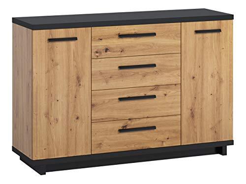 Kommode Ines K2D4SZ mit 4 Schubladen und 2 Türen, Anrichte in Holz-Optik, Highboard, Mehrzweckkommode, Schrank, Wohnzimmer, Esszimmer, Diele & Flur, Sideboard (Eiche Artisan + Schwarz / Eiche Artisan)
