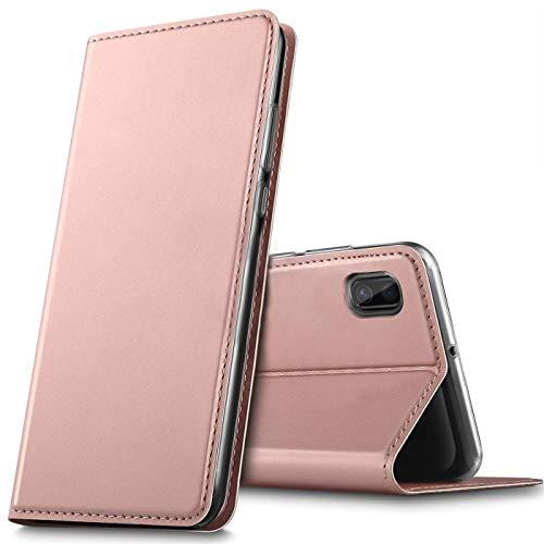Verco Handyhülle für Huawei Y5 (2019), Premium Handy Flip Cover für Huawei Y5 2019 Hülle [integr. Magnet] Book Hülle PU Leder Tasche, Rosegold