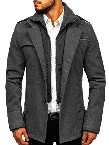 BOLF Herren Wintermantel Lang Mantel mit Reverskragen eleganter Look PPM 8856 Grau L [4D4]