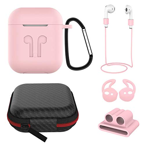 BAGLIORE 6in1 Airpod Case Accesories, Compatible for Apple Airpod 1st & 2nd Gen Shockproof, Semi-Waterproof, Anti-Lost Storage, Travel Box/EarphoneStrap/EarHooks/Keychain (Pink)
