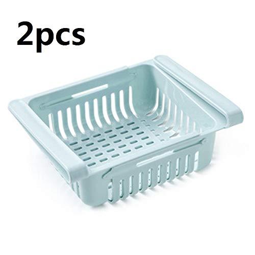 Refrigerator partition storage rack , Refrigerator Partition Layer , Fridge Slide Drawer , Freezer Storage Rack Box , Fridge Freezer Storage Rack Shelf Holder, Fruit Vegetable Holder (2pcs Blue)