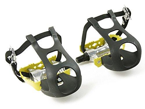 Singlespeed Rennradfahrrad Pedale in Gelb aus Aluminium mit Kunststoffhaken und Nylonriemen Fixy Fixedgear Straps Toe-Clips