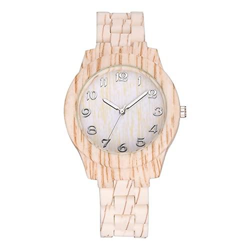 shandianniao Moda Reloj Casual para Hombres y Mujeres Número árabe Retro Textura de Madera Reloj de Cuarzo Reloj Reloj de Pulsera de Las señoras (Color : A)