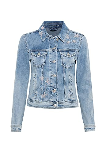 HALLHUBER Bestickte Jeansjacke aus Candiani Denim körpernah kurz geschnitten Light Blue Denim, 34
