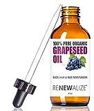 Renewalize Aceite de semilla de uva orgánica Anti-Envejecimiento Hidratante - Limpiadora Facial en 4 oz botella de vidrio | Sin refinar, prensado en frío 4 onzas Rojo oscuro