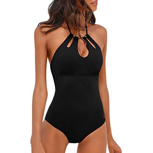 JURTEE Temperamento Mujer Solid Color Siamés Bikini Monokini con Push-Up Bañador Sin Espalda Ropa De Playa con Pliegues Traje De Baño