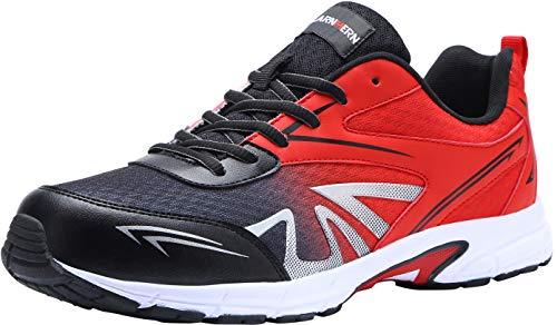 LARNMERN Zapatillas de Seguridad Hombres LM180105 SB Zapatos de Trabajo con Punta de Acero Ultra Liviano Suave y cómodo Transpirable(44 EU,Rojo