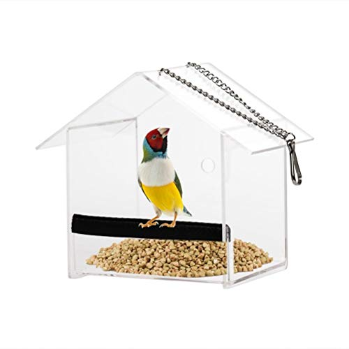 QoFina Comedero para pájaros con Ventana para pájaros Salvajes, Jaula para pájaros, Forma de casa de acrílico Transparente, comedero para pájaros para Mascotas, casa para pájaros