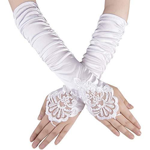 Ksnrang Damen Lange Handschuhe Satin Classic Opera Fest Party Hochzeit Braut Handschuhe 1920er Stil Handschuhe Elastisch Erwachsene Größe bis Handgelenk Länge (36cm-weiß)