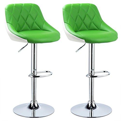 WOLTU BH30gn-2 Design 2 farbig Barhocker mit Griff, 2er Set, stufenlose Höhenverstellung, verchromter Stahl, Antirutschgummi, pflegeleichter Kunstleder, gut gepolsterte Sitzfläche, grün+Weiss