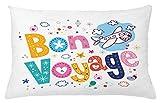 Going Away Party Throw Pillow Cojín, Mensaje Feliz, Dibujos Animados Coloridos, Divertidos Dibujos Animados, impresión temática de Viaje en avión, 45 x 45 cm, Amarillo Azul