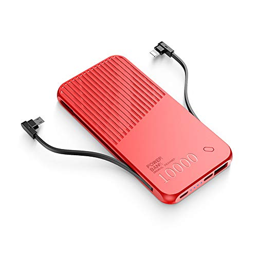 LIAWEI Cargador de teléfono con cargador portátil, 10000 mAh, con 3 cables integrados, tipo C, micro cables compatibles con iPhone, Samsung otros teléfonos y todos los dispositivos digitales