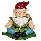 CCOQUS Gartenzwerg Zen Gartenstatue, Yoga Zwerg Figur – Outdoor Rasen Terrasse Fee Garten Dekoration (rot)