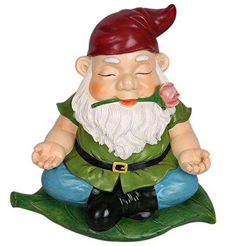 CCOQUS Zen Gartenzwerg Gartenstatue, Yoga-Zwergfigur, für den Außenbereich, Rasen, Terrasse, Fee, Garten, Dekoration – Home Office, Tolles lustiges Geschenk rot