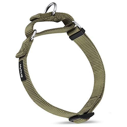 Hyhug Premium actualizado Cuello de Perro Martingale antivaho de Nylon Resistente para Perros Grandes, pequeños, medianos, pequeños y pequeños (Grande L, Verde Militar)