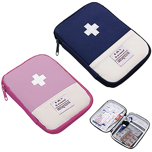 Medikamententasche Unterwegs Klein 2 Stück, Erste Hilfe Tasche Leer, Reiseapotheke Wasserdicht, Mini kindernotfallbox, Apothekentasche, Notfalltasche für Im Büro, Auf Reisen, Beim Wandern, Camping