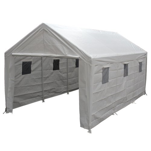 King Canopy Hercules 10 x 20 Foot 8 Leg Universal Carport Shelter, White