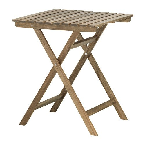 IKEA ASKHOLMEN klaptafel 60x62cm, bruin, massief acacia
