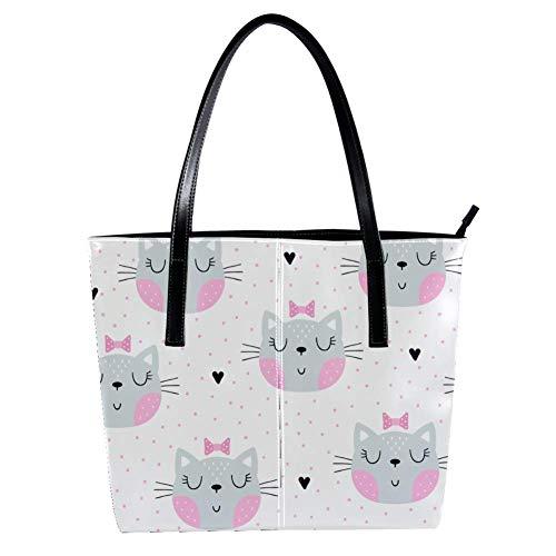 TIZORAX Damen Handtasche mit rosa Schleife in Punkten, PU-Leder, modische Handtasche, Tragegriff, Schultertasche