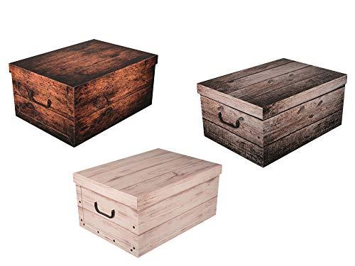 Set aus 3 Stück XXL Deko Kartons in tollen Holz Dekoren - Tolle Motive, passen in jeden Haushalt! Edel und hochwertig! Mit Griffen zum Tragen und XXL Volumen!