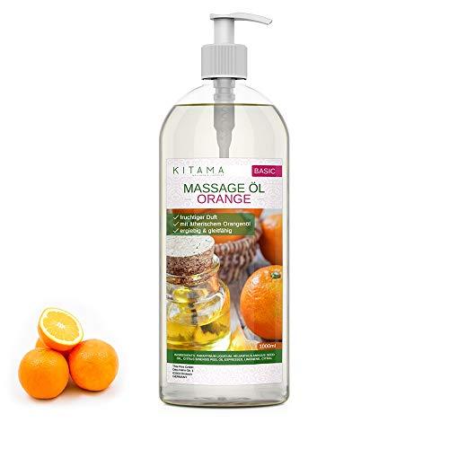 Kitama Aroma Massageöl Orange 1000ml (1-Liter) I Pflegendes Körperöl für Massagen I Aroma-Öl für Massage, Thai-Massage & Spa