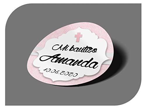 CrisPhy - Adesivi personalizzati per comunione o battesimo, con nome e data, etichette adesive per inviti, matrimoni, fidanzamenti, compleanni, feste, vintage, timbri