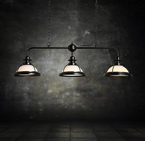Lámpara de techo industrial ajustable vintage araña 3 luces retro antigua isla lámpara con cristal blanco sombra