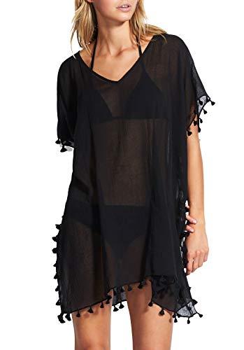 Seafolly Women's Kaftan Tassel Trim Cover Up Dress, Beach Basics Black, One Size