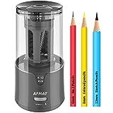 AFMAT ElectricPencilSharpener, PencilSharpenerforColoredPencils,AutoStop,SuperSharp&Fast,ElectricPencilSharpenerPluginfor6-12mmNo.2/ColoredPencils/Office/Home-Gray