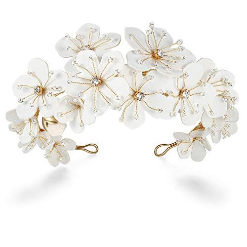 HONEY BEAR Tiaras de novia Diademas de joyería nupcial Diademas para el cabello para mujer, forma de flor, aleación ecológica con perlas simuladas y diamantes de imitación para regalo de boda