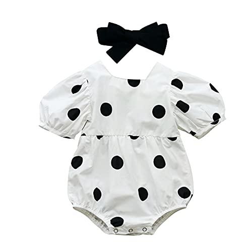 Bebé recién nacido bebé niña mameluco estampado lunares manga corta soplo mono diadema ropa de verano