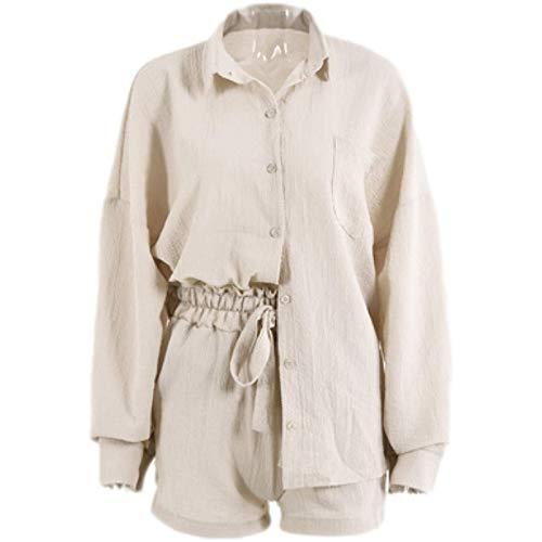 Camisa de Manga Larga con Botones de Costura de Color sólido de Dos Piezas de Moda Informal para Mujer y Pantalones Cortos de Pierna Ancha Suelta de Cintura Alta Large